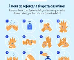É hora de reforçar a limpeza das mãos!